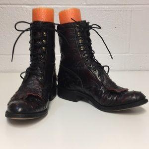 Lucchese Women's 7.5 B Dark Red/Black Boots